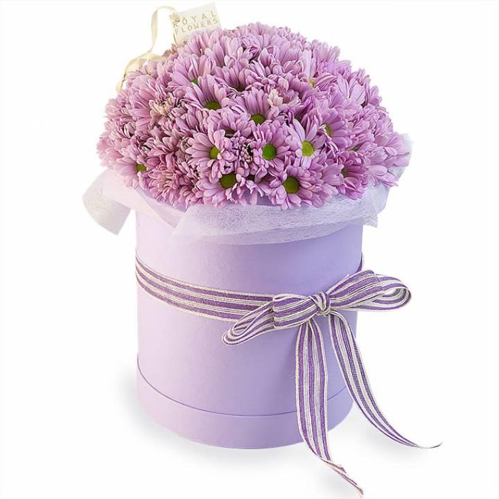 Розовая хризантема в шляпной коробке - Розовая сказка