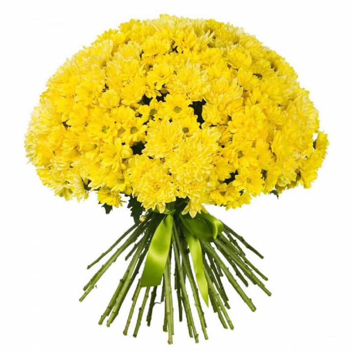 Букет из Хризантемы - яркий желтый шар