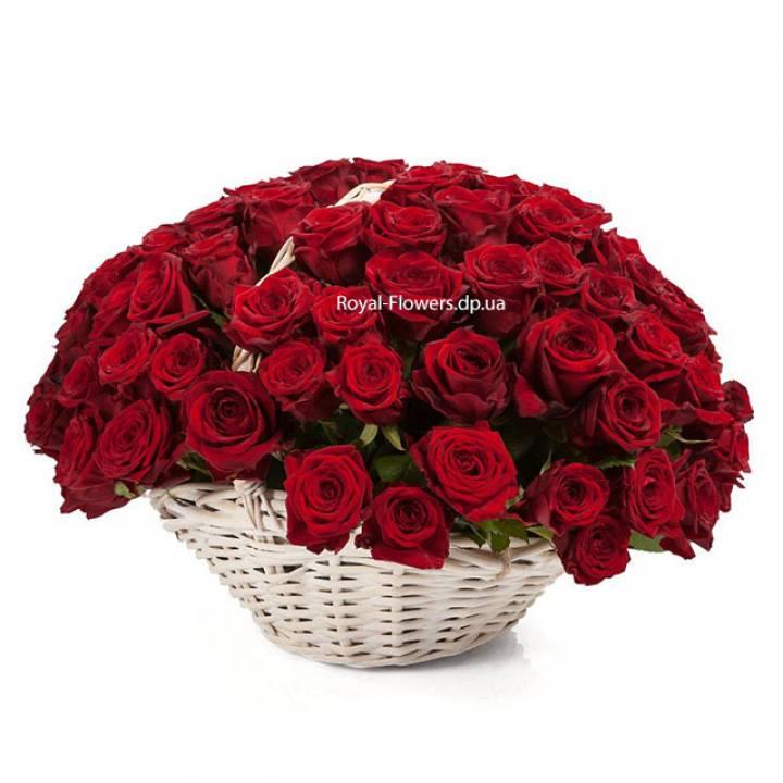 Корзина красных роз сорт Гран-При 101 шт