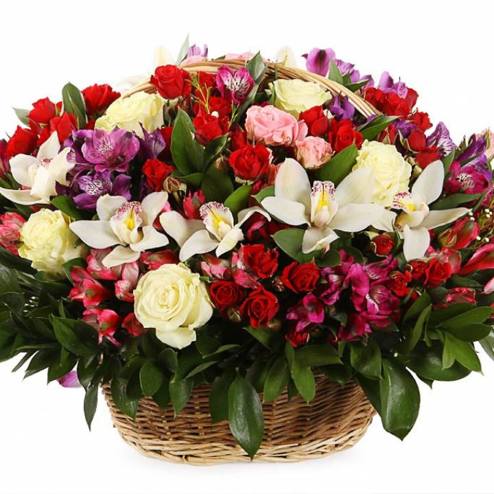 Орхидея и роза в Корзине изобилия