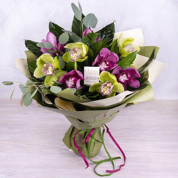 Букет из белой и зеленой орхидеи - Фисташки и мороженое