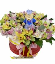 Орхидея в коробке 45 поцелуев