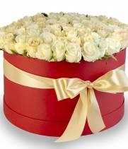 101 белая и кремовая роза в коробке