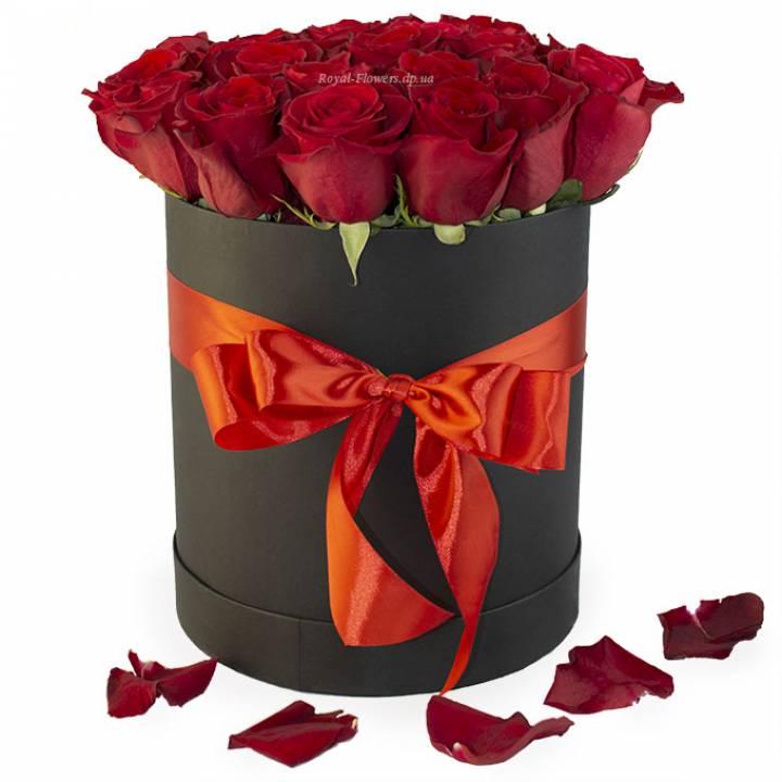 25 красных роз в коробке - сорт: Freedom или Explorer
