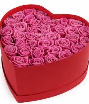 39 розовых роз в коробке сердце