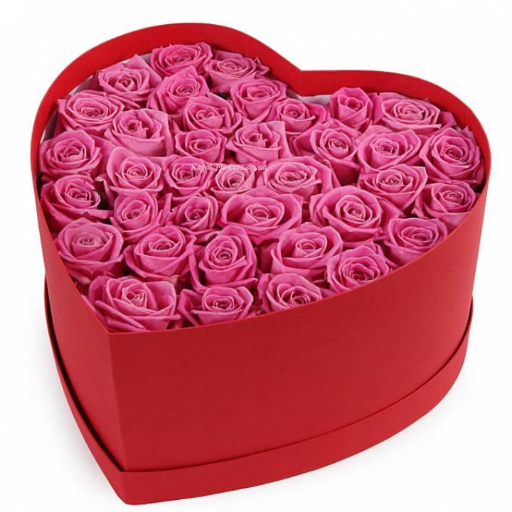 Букет 39 розовых роз Аква в коробке   Сердце