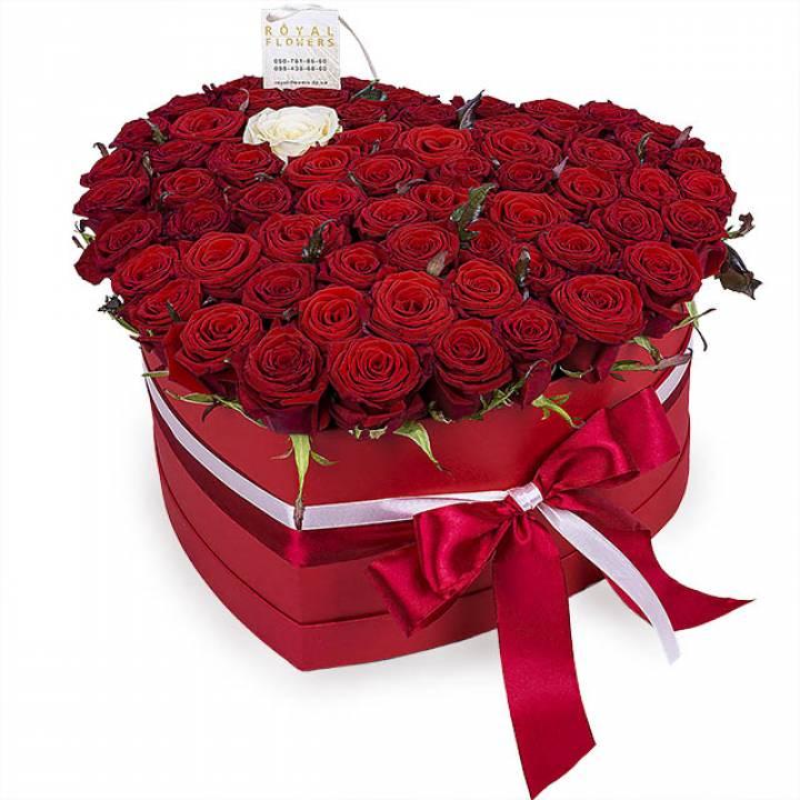 51 красная роза в коробке  Сердце: сорт Гран-При - Сердце любви