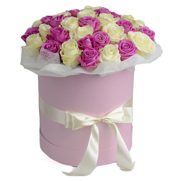 51 роза: розовая и белая в шляпной коробке - цветы - Днепр
