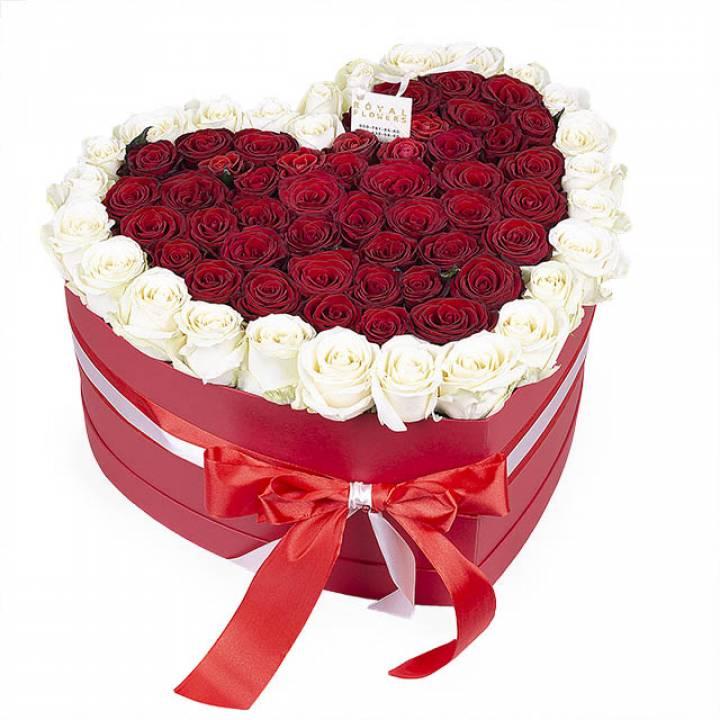 Цветочная композиция из 75 белых и красных роз в коробке сердце