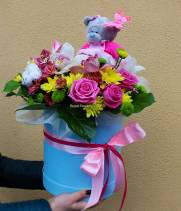 Цветы и  Мишка Teddу