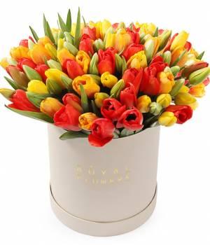 """Тюльпаны в коробке 101 шт """"Mix"""""""
