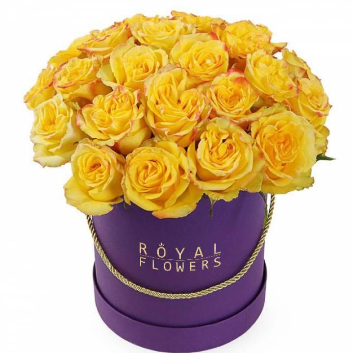 19 желтых роз в шляпной коробке - сорт: Пени-Лейн