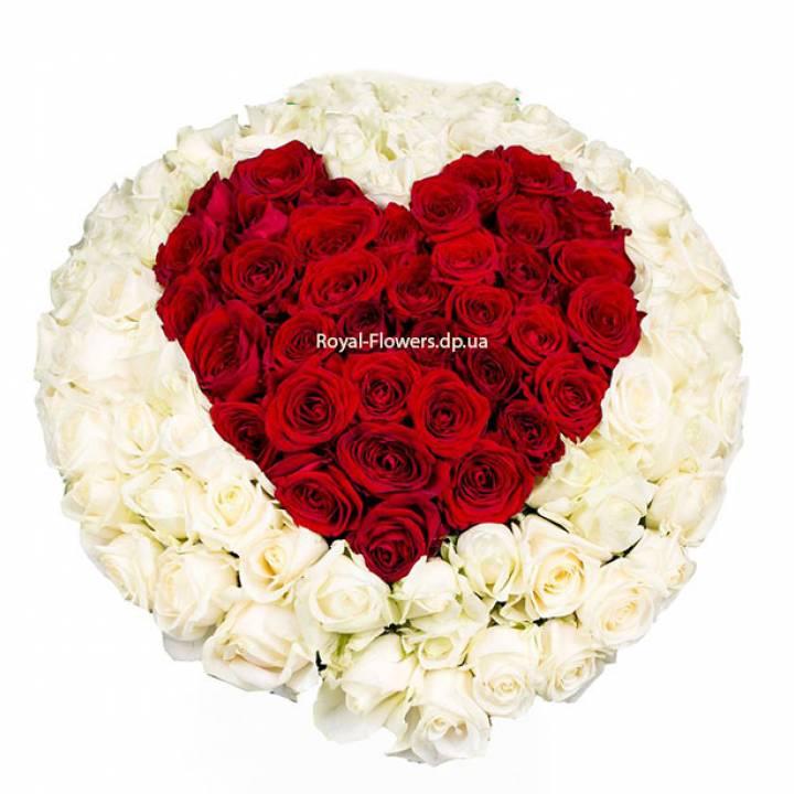 Букет: Сердце из 101 розы