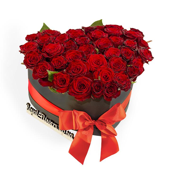 39 красных роз в коробке Сердце:  сорт Гран-При -   Моя любовь