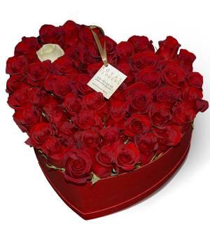 "51 роза в сердце ""Коробка с любовью"""
