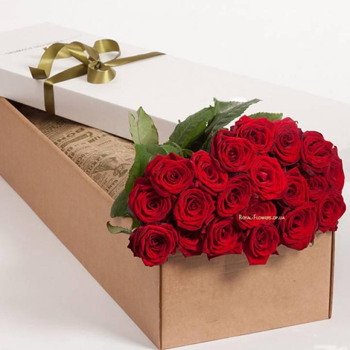 19 красных роз в прямоугольной коробке