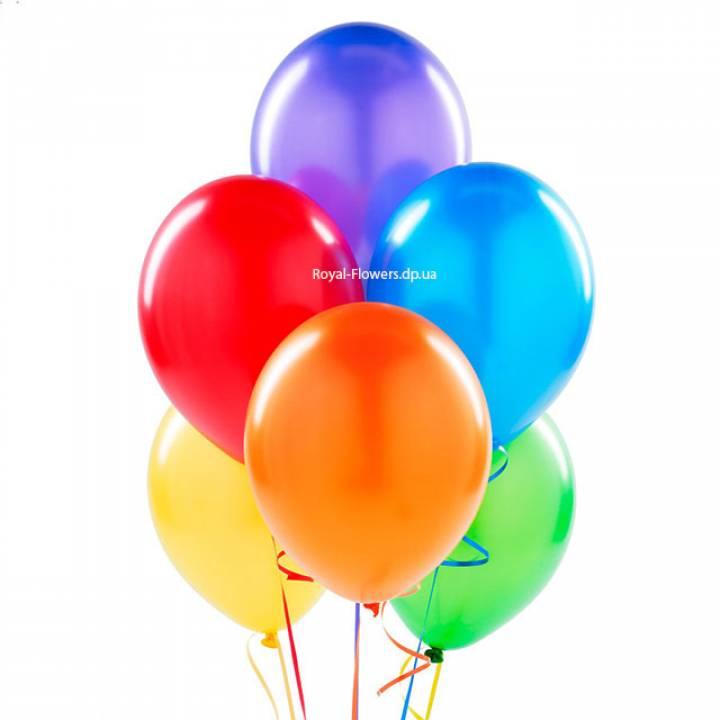 Пять разноцветных гелиевых шариков