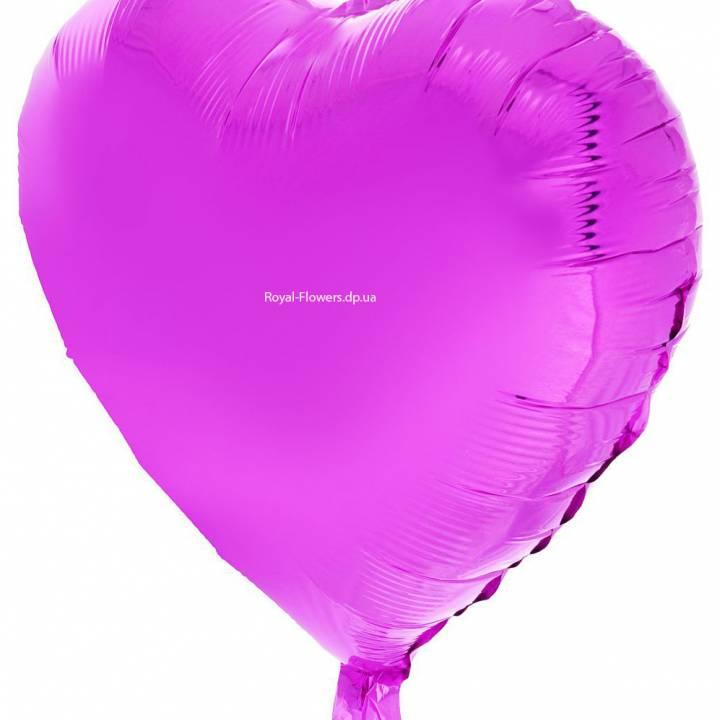Гелиевый фиолетовый шарик в форме сердца