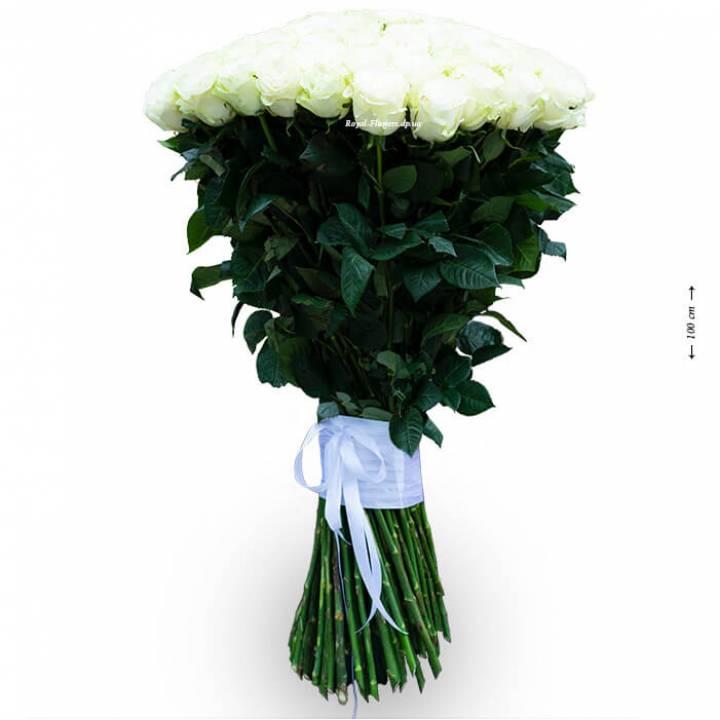 Букет из 101 белой розы, высота метр, сорт Мондиаль