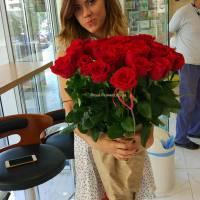 Метровая 21 красная роза