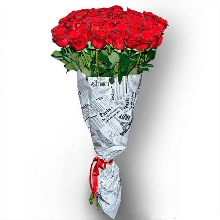 Букет из 51 красной метровой розы сорт - Freedom (Explorer)