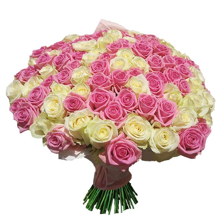 101 роза в букете Cream and Рink, Аваланч и Аква