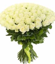 101 белая роза в букете