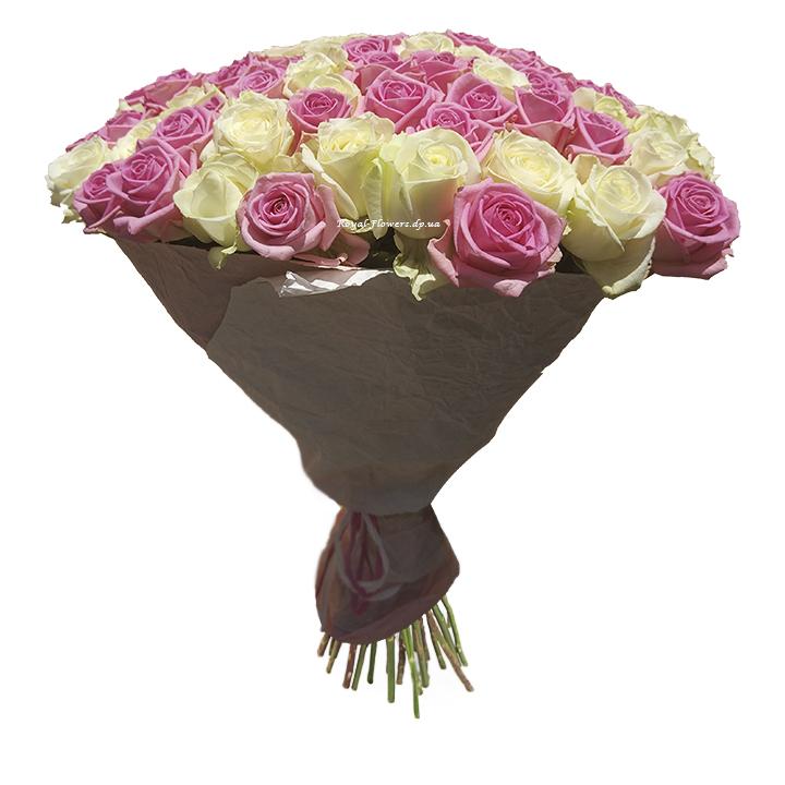 51 роза, белая и розовая