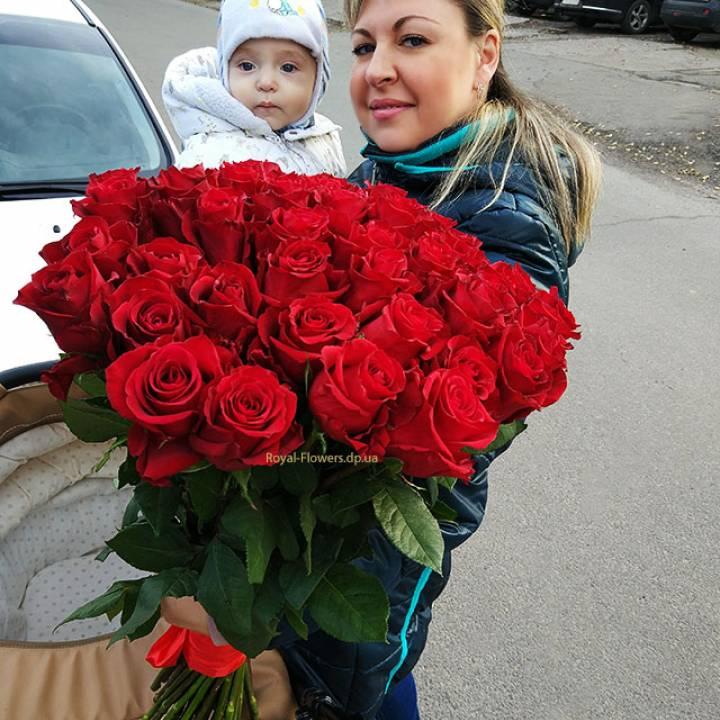 Букет из 51 красной розы - Импортная (Голландия)