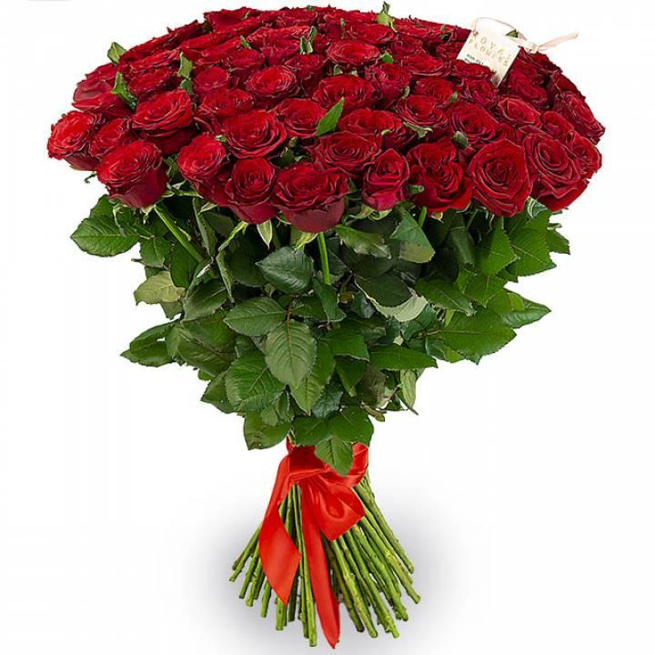 Букет из 51 красной розы высота 70 - 80 см - сорт Гран-При
