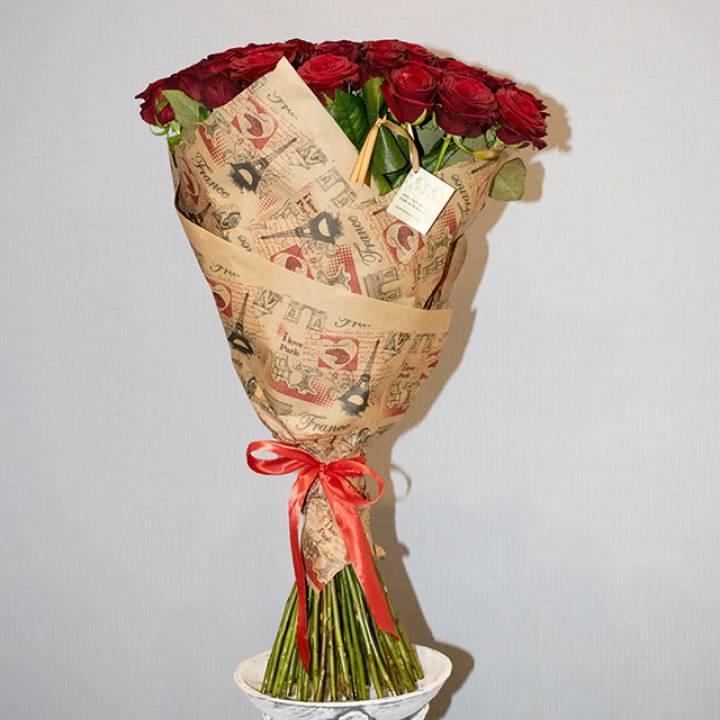 """Букет красных роз - сорт Гран-При 51 шт  """"Алое сердце"""""""