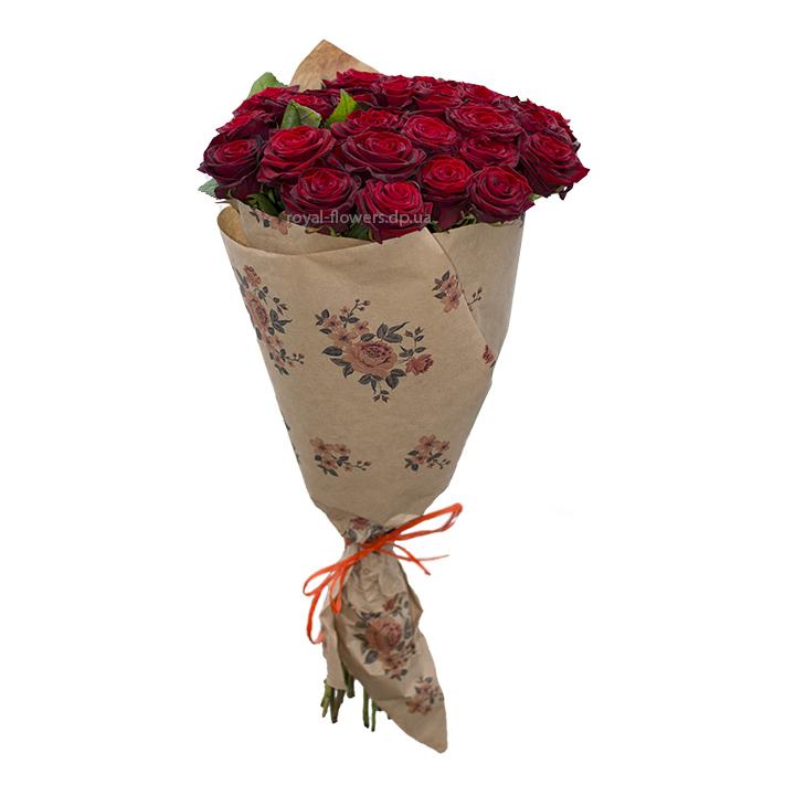 Букет : 29 красных роз сорт Гран-При - цветы - Днепр