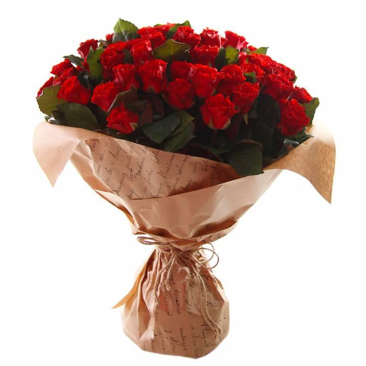 51 красная роза в букете необычное счастье