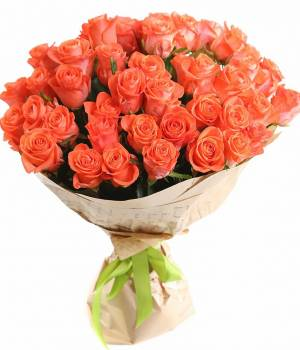 51 оранжевая роза - Букет Мандаринка