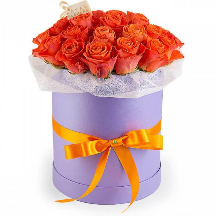 25 оранжевых роз Вау в шляпной коробке