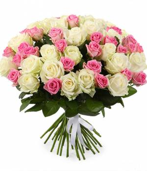"""39 роз, белые и розовые цветы в букете """"Mix"""""""
