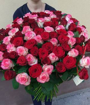Радужный мир из 151 розы
