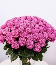 Букет 101 розовая роза Аква
