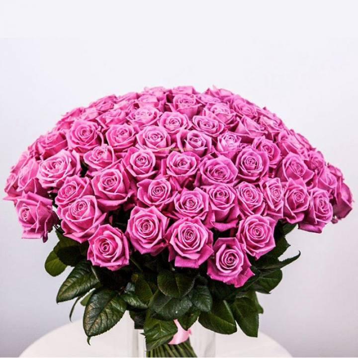 """Букет из 101 розовой розы сорта """"Аква"""""""