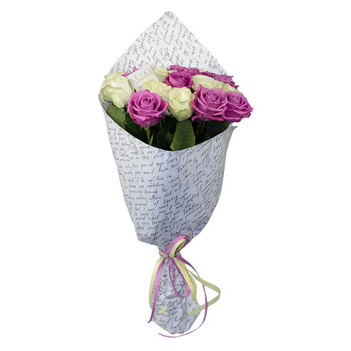 Букет: 19 белых и розовых роз сорт Аваланч и Аква - цветы - Днепр