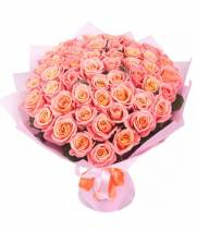 Букет 39 розово-кремовых роз