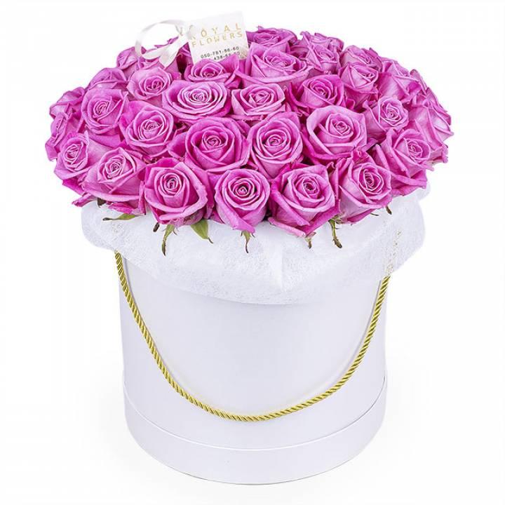 51 розовая роза в шляпной коробке - сорт Аква
