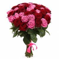 51 роза, букет Симбиоз цвета