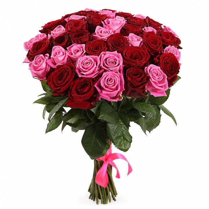 """51 роза, букет """"Симбиоз цвета"""""""