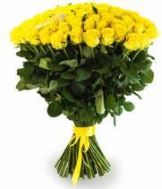 101 желтая роза в букете Солнышко