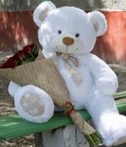 21 красная роза и метровый медведь