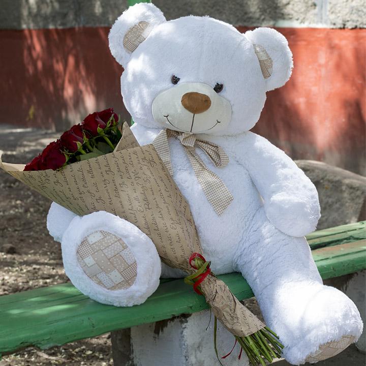 21 красная премиум роза и метровый медведь