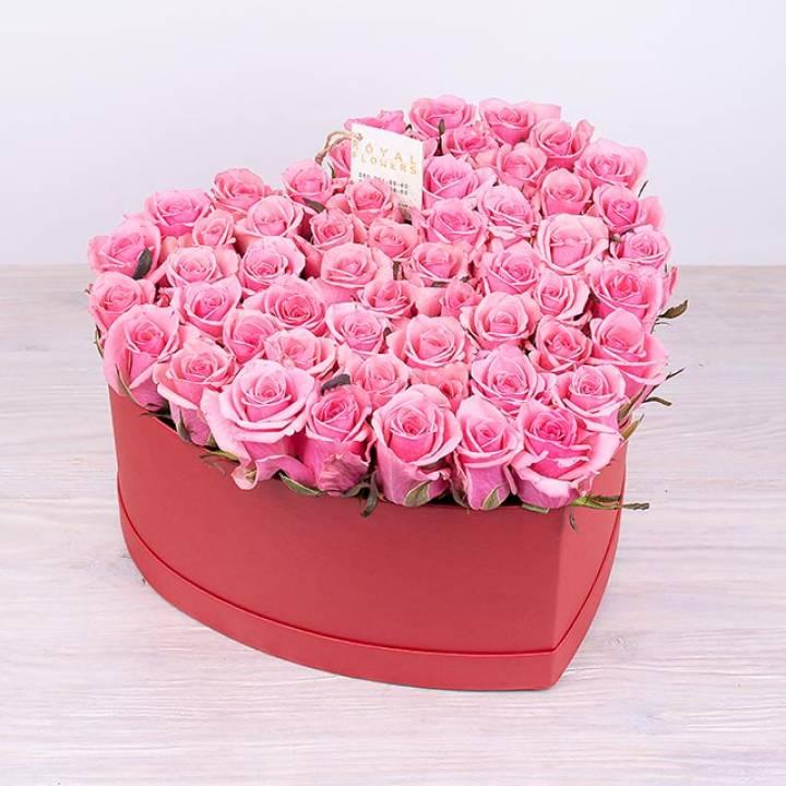51 розовая роза в коробке   Сердце Розовое счастье