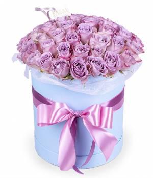 "51 роза ""Мемори"" в шляпной коробке"