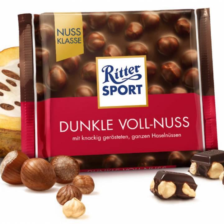 Черный Шоколад  Ritter Sport с  цельным лесным орехом 100г